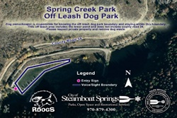 spring creek park off leash dog park, trail pet friendly steamboat springs, colorado dog parks and trails